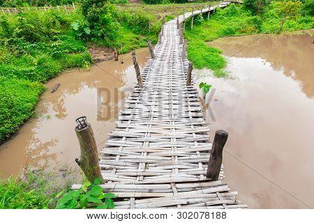 Bamboo Bridge Boon Ko Ku So Over A Pond Near Pai; Thailand