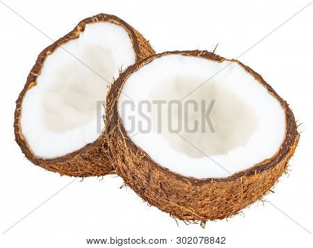 Coconuts Isolated On The White Background  With Clipping Path.