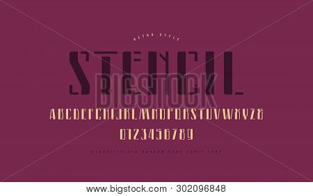 Stencil-plate Narrow Sans Serif Font. Letters And Numbers For Logo And Label Design