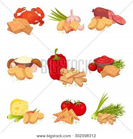 Set Of Images Of Croutons Slices With Different Products. Vector Illustration On White Background.
