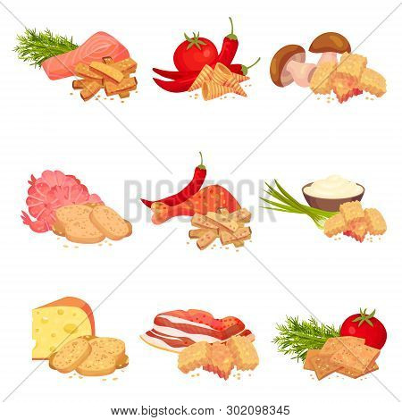 Set Of Images Of Pieces Of Croutons Of Bread With Different Tastes. Vector Illustration On White Bac