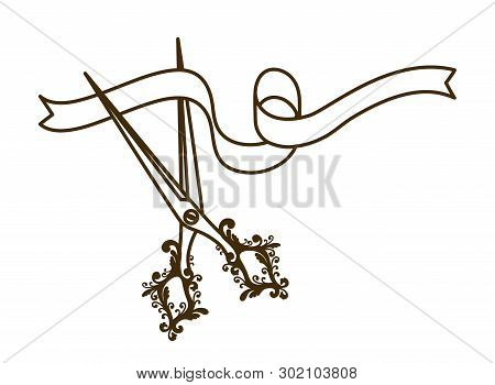 Scissors With Ribbon On White Background Vector Illustration Design