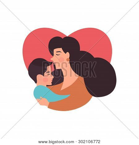 Mother And  Son Hugging. Mother's Day Card About Mother's Love And Care. Vector Illustration For You