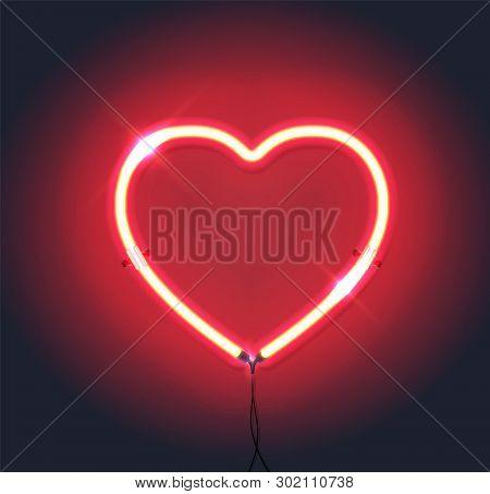 Bright Heart. Neon Sign. Retro Neon Heart Sign On Purple Background. Design Element For Happy Valent