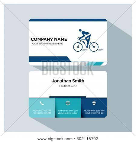Biking, Cycling Trainer Business Card Template Set, White Blue, Grey Font, Shadow, With Company Name