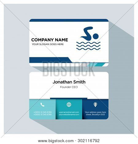 Swimming Player, Trainer Business Card Template Set, White Blue, Grey Font, Shadow, With Company Nam