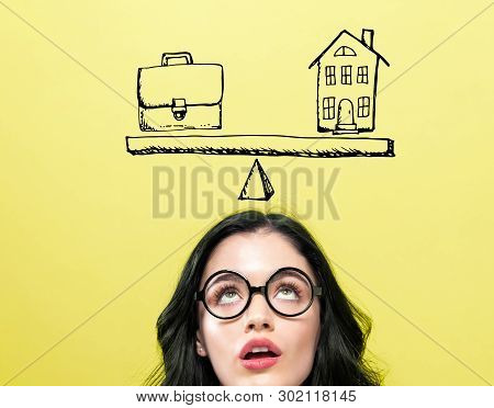 Work And Life Balance With Young Woman Wearing Eye Glasses