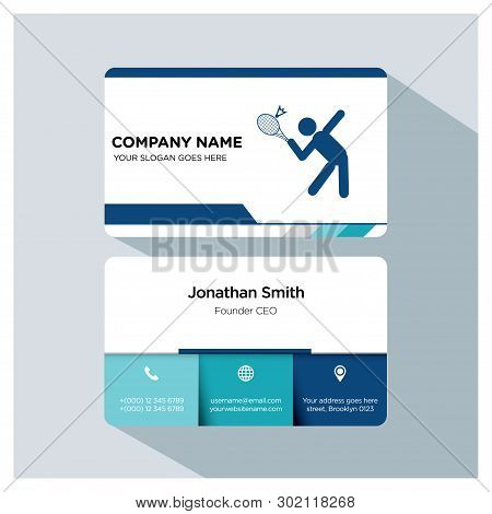 Tennis Player, Trainer Business Card Template Set, White Blue, Grey Font, Shadow, With Company Name,
