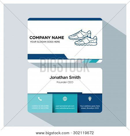 Player, Trainer Business Card Template Set, White Blue, Grey Font, Shadow, With Company Name, Slogan