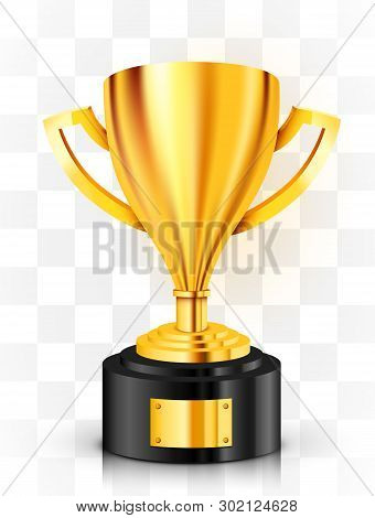 Realistic Golden Trophy On Transparent Background. Award Cup