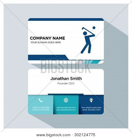 Golf Player, Trainer Business Card Template Set, White Blue, Grey Font, Shadow, With Company Name, S