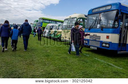 Llandudno, Uk - May 5, 2019: Visitors To The Llandudno Transport Festival 2019 Enjoy The Displays An