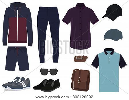 Mens Clothing Color Icon Set, Male Wear Symbols Collection, Vector Sketches, Logo Illustrations, App