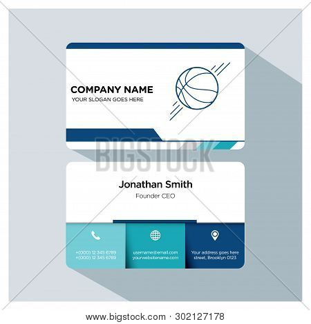 Basketball Player, Trainer Business Card Template Set, White Blue, Grey Font, Shadow, With Company N
