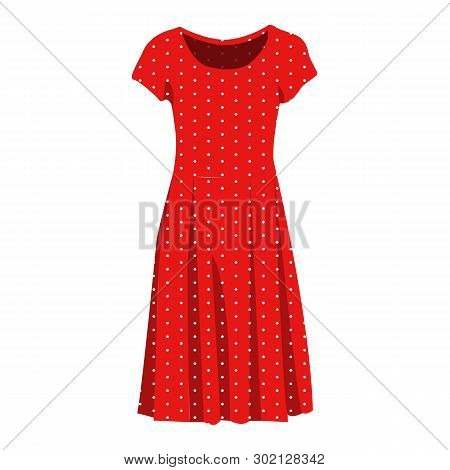 Elegant Red Dress Vector Icon On A White Background. Woman Gown Illustration Isolated On White. Polk
