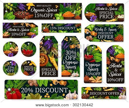Farm Market Seasonings Discount Offer For Natural Herbs And Organic Spices. Vector Special Price Tag