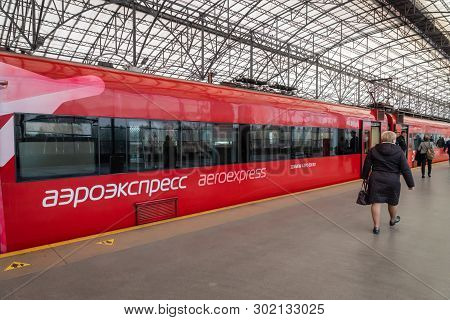 Moscow, Russia - May 2019: Aeroexpress Train At The Platform Of  Moscow Sheremetyevo Airport Station