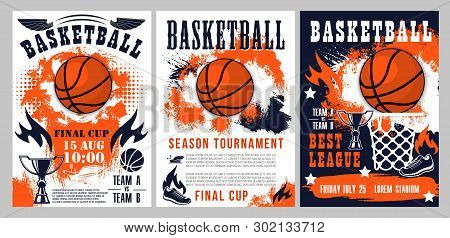 Basketball Tournament, Sport League Cup Championship Posters. Vector Basketball Ball Goal In Basket,