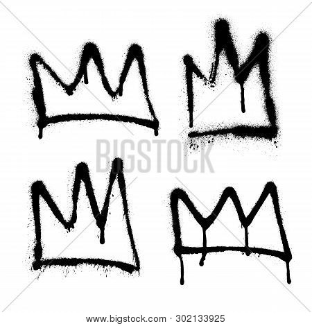 Sprayed Crown Graffiti Set With Overspray In Black Over White. Vector Illustration.