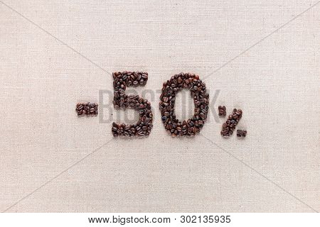 50% Discount From Coffee Beans Aligned In Center