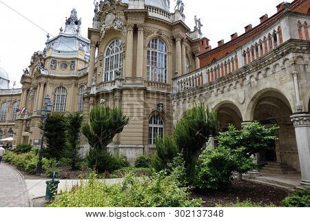 Budapest, Hungary. Vajdahunyad Castle in spring