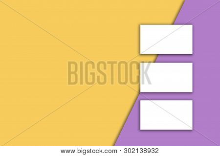 Business Card Blank Over Colorful Background. Copy Space For Text.