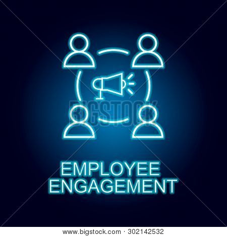 Employee Engagement Line Icon In Neon Style. Element Of Human Resources Icon For Mobile Concept And