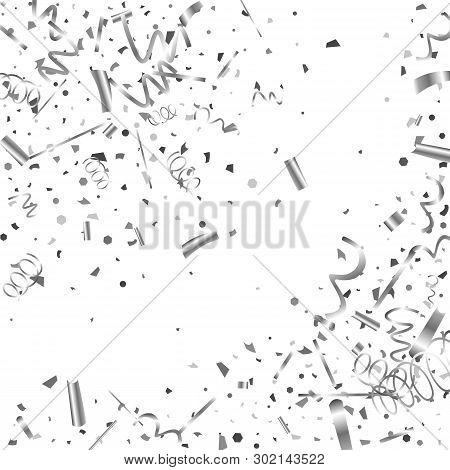 Silver Confetti. Silver Texture Glitter On A White Background. The Element Of Design. The Silvery Ab