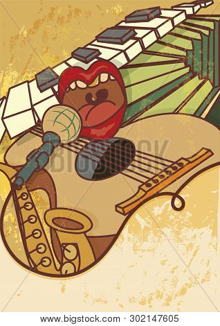 Jam Session, Jazz, Blues Music Concert Vector Background Flayer, Retro Style