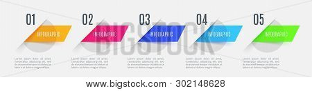 Infographic Arrows With 5 Step Up Options And Glass Elements. Vector Template In Flat Design Style.