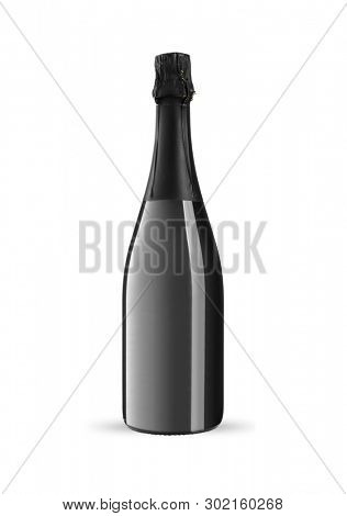 Bottle of sparkling wine on a white background, including clipping path