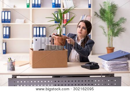 Dismissal and firing concept with woman employee