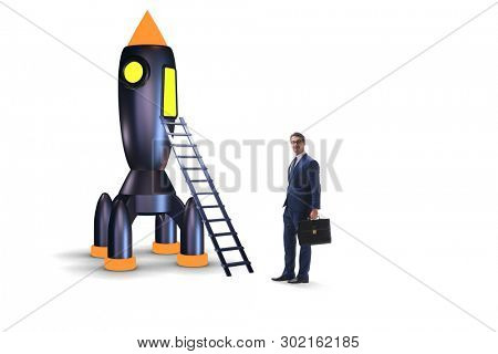 Businessman with rocket isolated on white background