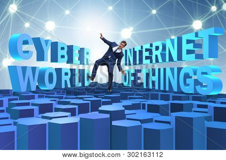 Businessman in internet of things concept
