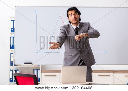 Young handsome businessman in front of whiteboard