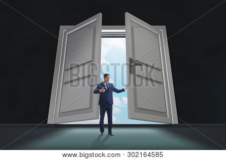 Businessman entering big large door
