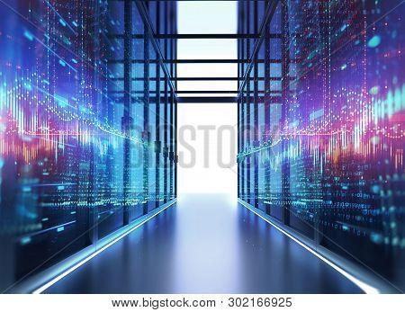 Server Room 3d Illustration With Node Base Programming Data  Design Element.concept Of Big Data  Sto