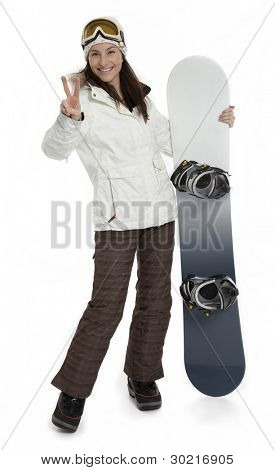 Full length photo of pretty woman holding snowboard on white background.