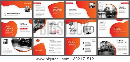 Presentation And Slide Layout Background. Design Red And Orange Gradient Template. Use For Business