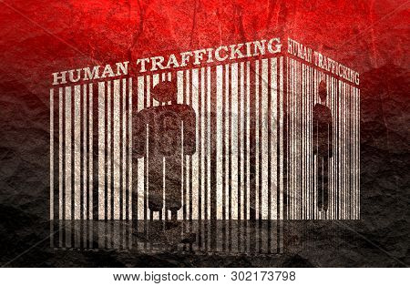 Barcode With Human Silhouette And Human Trafficking Text Within