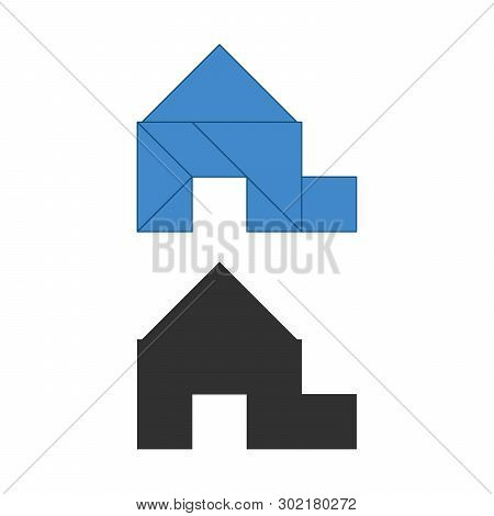 Garage, House Tangram. Traditional Chinese Dissection Puzzle, Seven Tiling Pieces - Geometric Shapes