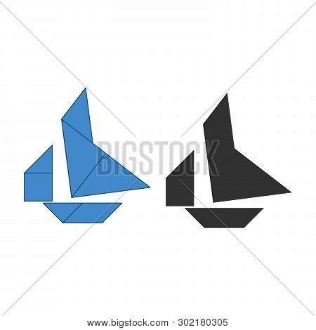 Boat Tangram. Traditional Chinese Dissection Puzzle, Seven Tiling Pieces - Geometric Shapes: Triangl