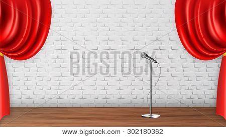 Design Platform Scene For Recital Spectacle Vector. Silver Metal Leg Microphone, Wooden Floor And Re