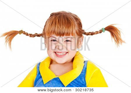 Happy emotional little girl with funny braids