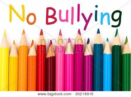 A pencil crayon border isolated on white background with words No Bullying poster