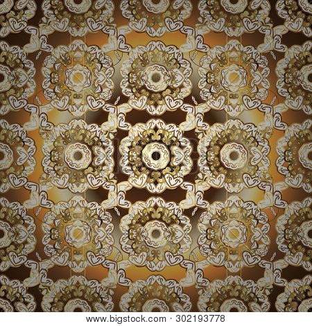 Floral Ornament Brocade Textile Pattern, Glass, Metal With Floral Pattern On White And Brown Colors