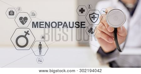 Menopause Age Women Health Medical Concept On Screen.
