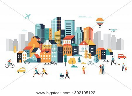 Smart City, Landscape City Centre With Many Building, Airplane Is Flying In The Sky And People Walki