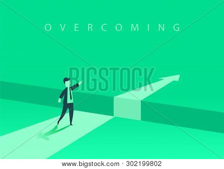 Businessman Standing In Front Of The Obstacle, Gap On The Way To Success, Business Concept Of Solvin