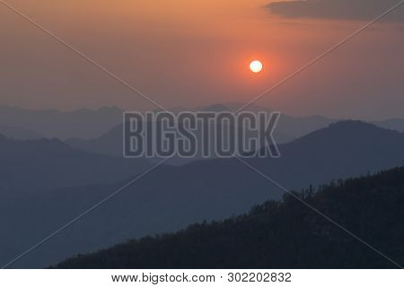 Beautiful Sunset And Blue Layer Hills View From Fmous View Point Bandipur Nepal